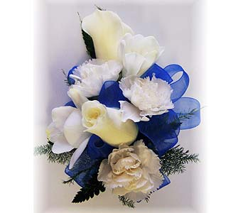 Bold in Blue Wrist Corsage in Wyoming MI, Wyoming Stuyvesant Floral