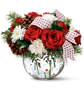 Teleflora's Jolly Reindeer Bouquet in Gaithersburg MD, Flowers World Wide Floral Designs Magellans