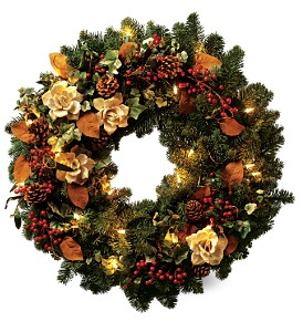 Teleflora's Lights of Christmas Wreath in Gaithersburg MD, Flowers World Wide Floral Designs Magellans