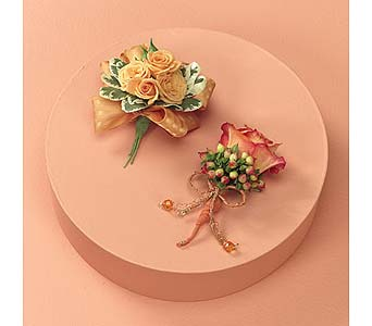 Orange Sherbet Corsages in Portland ME, Dodge The Florist