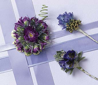 Purple Broach and Boutonniere Collection in Portland ME, Dodge The Florist