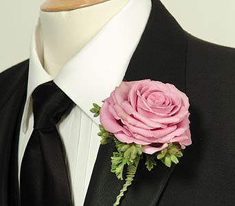 Lavender Composite Rose Boutonniere in Portland ME, Dodge The Florist