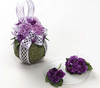 Moss & Carnation Pomander, Purple Mini Carnation C in Portland ME, Dodge The Florist