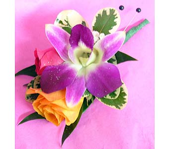 Orchid & Roses Boutonniere in Massapequa Park NY, Bayview Florist & Montage  1-800-800-7304