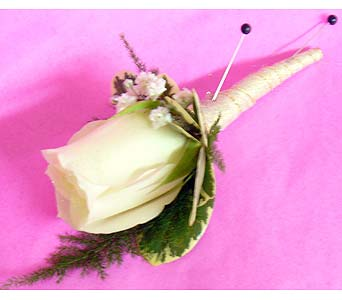White Rose Beige Satin Boutonniere in Massapequa Park NY, Bayview Florist & Montage  1-800-800-7304