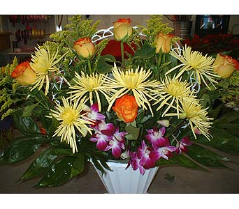 Oranges, Yellows, Purples - Funeral Basket Spray in Dallas TX, Z's Florist