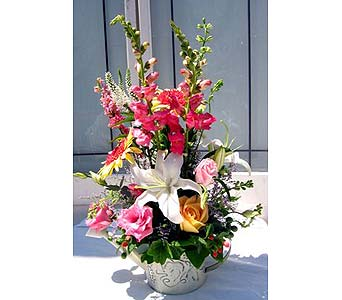 Colorful Watering-Can Bouquet in Lake Forest CA, Cheers Floral Creations