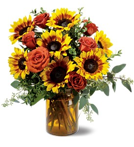 Rose and Sunflower Splendor in Bismarck ND, Dutch Mill Florist, Inc.