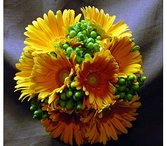 Orange Gerbera and Berries in Massapequa Park NY, Bayview Florist & Montage  1-800-800-7304