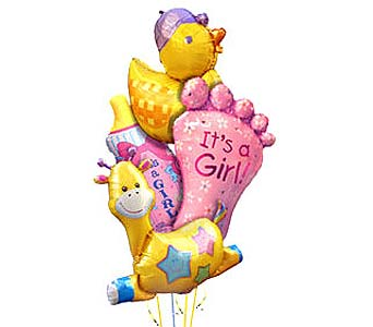 BB148G ''She's Here'' Balloon Bouquet in Oklahoma City OK, Array of Flowers & Gifts