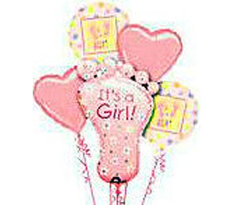 BB150G ''Her Footprints'' Balloon Bouquet in Oklahoma City OK, Array of Flowers & Gifts