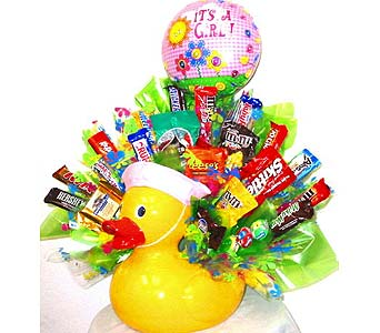 BABYCB134G ''Quack! Quack!'' Candy Bouquet for Girls in Oklahoma City OK, Array of Flowers & Gifts