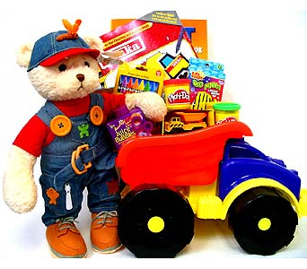 GB173 ''Tonka Truck & Bear'' Gift Basket in Oklahoma City OK, Array of Flowers & Gifts