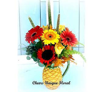 Gerbera in Pineapple Water Pitcher in Lake Forest CA, Cheers Floral Creations