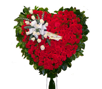 Red Carnation Heart in Bayside NY, Bell Bay Florist