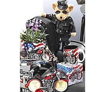 GB188 ''American Motorcycle'' Gift Basket in Oklahoma City OK, Array of Flowers & Gifts