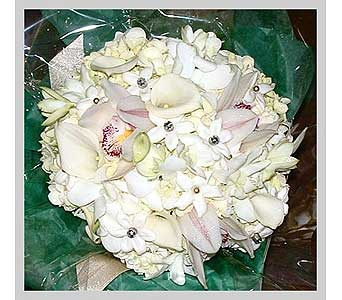 White Hydrangea, cynbidium orchids, stephanotis & crystals in Tuckahoe NJ, Enchanting Florist & Gift Shop