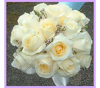 Vendela roses & pink wax flower hand tied bouquet in Tuckahoe NJ, Enchanting Florist & Gift Shop