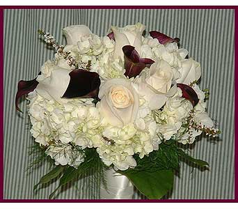 Mini burgundy callas, hydrangea, roses, & lemon leaf in Tuckahoe NJ, Enchanting Florist & Gift Shop