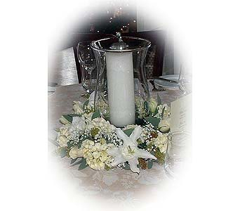 Hurricane Vase Candle Arrangement in Tuckahoe NJ, Enchanting Florist & Gift Shop