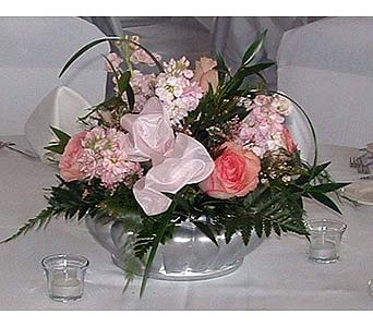 Silver Bowl Centerpiece & Tea Lights in Tuckahoe NJ, Enchanting Florist & Gift Shop
