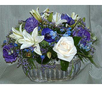 Vendela Roses Blue Delphinium, Lillies, & Limonium in Tuckahoe NJ, Enchanting Florist & Gift Shop