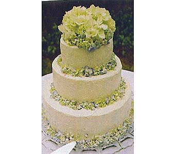 Cake with Hydrangea in Tuckahoe NJ, Enchanting Florist & Gift Shop