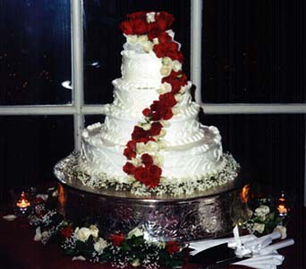 Cake Decorated with a Red & White Swag in Tuckahoe NJ, Enchanting Florist & Gift Shop