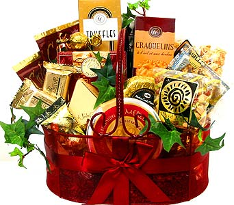GF23 ''Burgundy Bliss'' Gourmet Basket in Oklahoma City OK, Array of Flowers & Gifts
