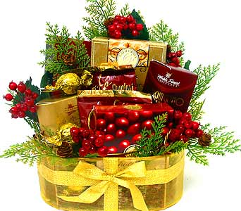 ''Golden'' Gourmet Basket in Oklahoma City OK, Array of Flowers & Gifts