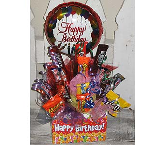 HAPPY BIRTHDAY candy bouq in Wichita KS, The Flower Factory, Inc.