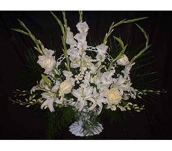 All White Mix - Funeral Basket Spray in Dallas TX, Z's Florist