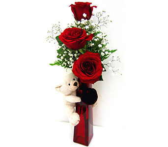 VF77 ''Rambling Roses'' with Bear Vase Hugger in Oklahoma City OK, Array of Flowers & Gifts