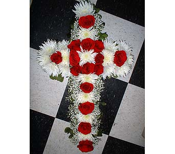 Red and White Cross - Standing Easel Spray in Dallas TX, Z's Florist