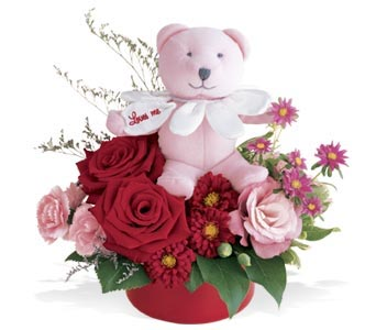 Pink Bear Bouquet in Muskegon MI, Barry's Flower Shop