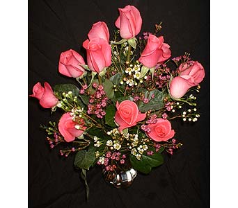 12 Hot Pink Roses in Dallas TX, Z's Florist
