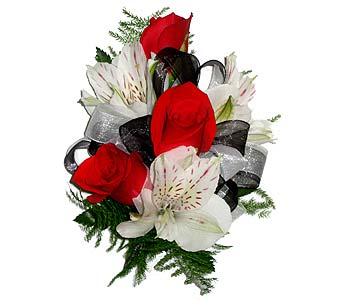 White, Red & Black Wrist Corsage in Wyoming MI, Wyoming Stuyvesant Floral