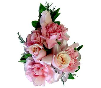 Pink Carnations & Roses Wrist Corsage in Wyoming MI, Wyoming Stuyvesant Floral