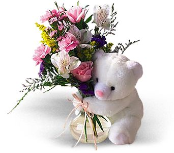 Teleflora's Bear Hug Bear with Roses in Olean NY, Mandy's Flowers