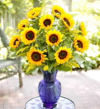 Sunflower Vase Arrangement in Hollister CA, Precious Petals