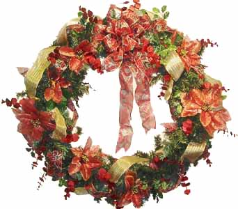 HW-2229 ''RED & GOLD'' POINSETTIA WREATH in Oklahoma City OK, Array of Flowers & Gifts