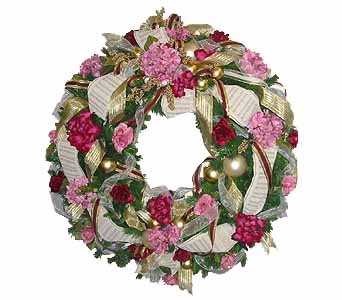 HW-2434 ''MAUVE AND BURGUNDY'' CHRISTMAS WREATH in Oklahoma City OK, Array of Flowers & Gifts