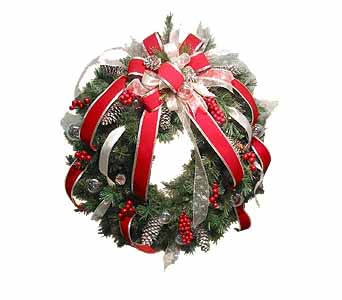 HW-2420 ''SHIMMERING SILVER'' CHRISTMAS WREATH in Oklahoma City OK, Array of Flowers & Gifts