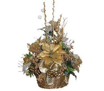HA-2354 ''GOLD GLITTERED BASKET'' (Silk Flowers) in Oklahoma City OK, Array of Flowers & Gifts