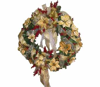 HW-2264 ''Christmas Wreath'' in Oklahoma City OK, Array of Flowers & Gifts