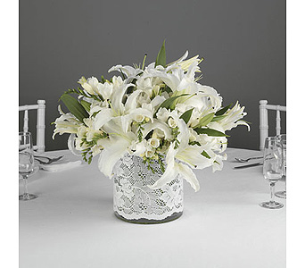 White Lily Centerpiece in White Lace Accent in Abington MA, The Hutcheon's Flower Co, Inc.