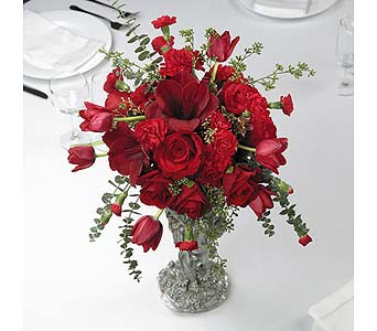 Red Rose and Tulip Centerpiece in Abington MA, The Hutcheon's Flower Co, Inc.