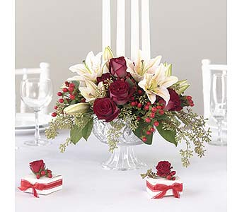 Lily and Rose Centerpiece in Abington MA, The Hutcheon's Flower Co, Inc.