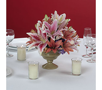 Mixed Lily Centerpiece in Abington MA, The Hutcheon's Flower Co, Inc.
