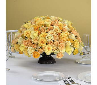 Yellow Rose and Calla Lily Centerpiece in Abington MA, The Hutcheon's Flower Co, Inc.